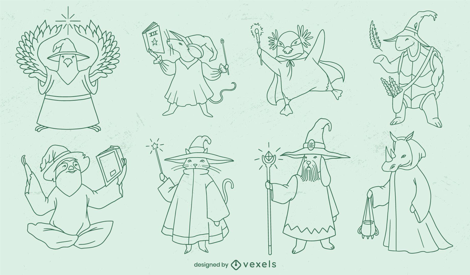 Conjunto de trazos de personajes de fantasía de hechiceros animales.