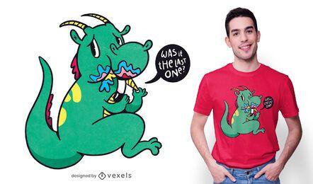 Schuldiger Drache, der Einhorn-T-Shirt Design isst
