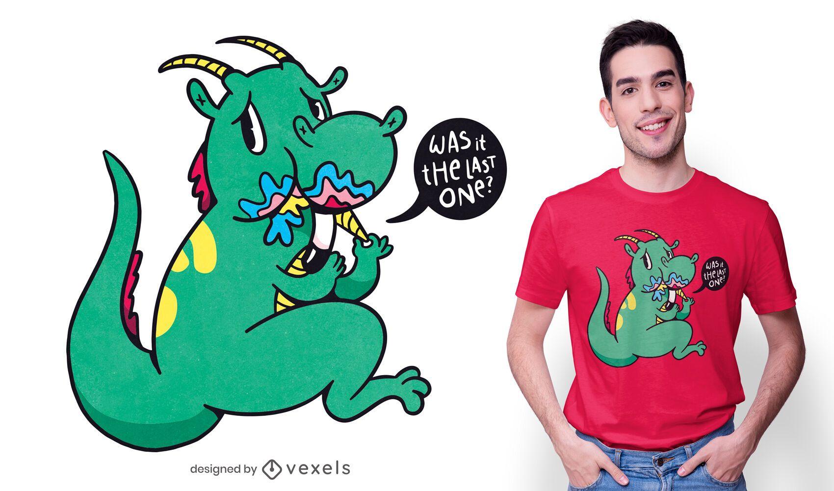 Design de camiseta culpada de dragão comendo unicórnio