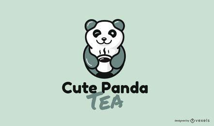 Tea cute panda bear animal logo design