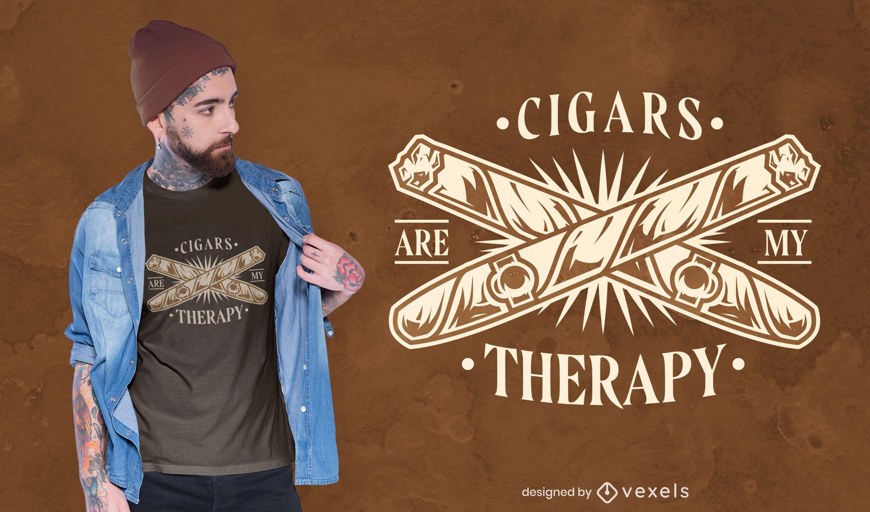 Diseño de camiseta de cita de terapia de cigarros.