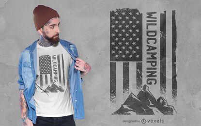 Diseño de camiseta de montaña con bandera estadounidense