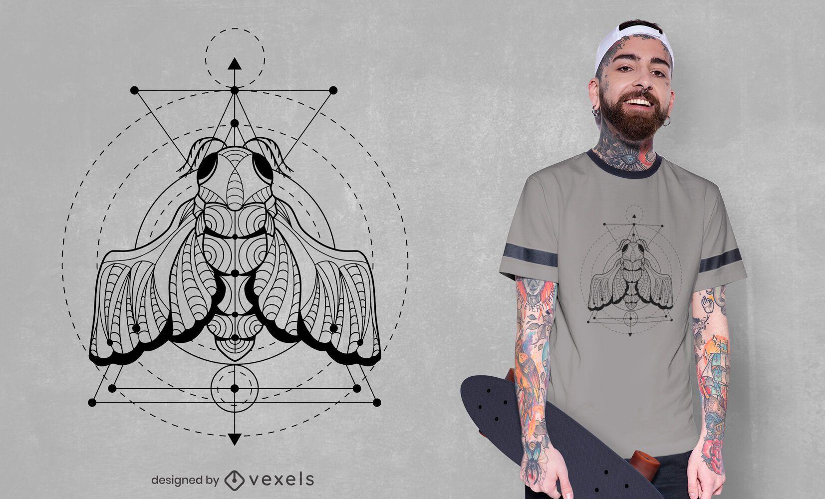 Diseño de camiseta de insecto cigarra geométrica.
