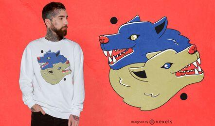 Diseño de camiseta de ilustración de lobos Yin Yang