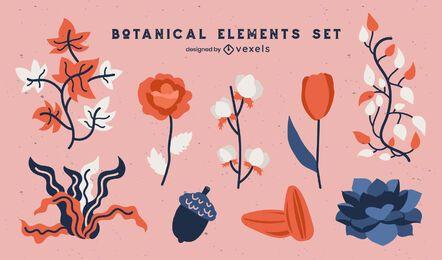 Conjunto de naturaleza de flores y hojas botánicas.