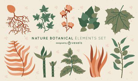Conjunto de elementos naturais de folhas botânicas