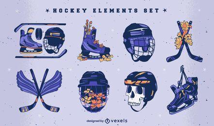 Conjunto de ilustración de equipo deportivo de hockey sobre hielo