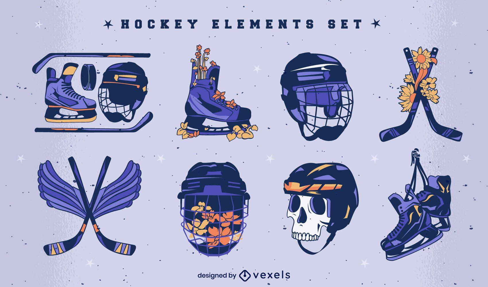 Conjunto de ilustração de equipamentos esportivos de hóquei no gelo
