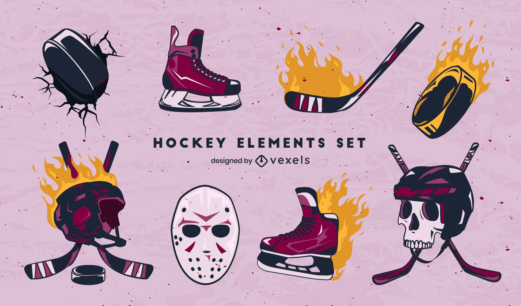 Ice hockey sport equipment on fire set