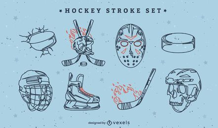 Ice hockey sport equipment on fire stroke set