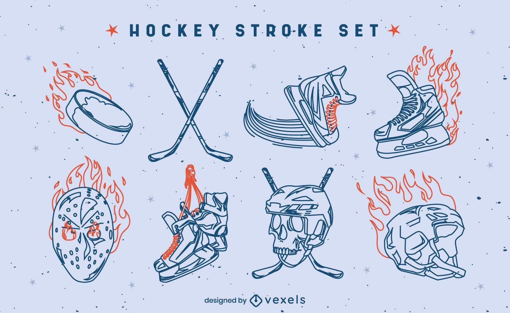 Juego de trazos de equipo de fuego deportivo de hockey sobre hielo