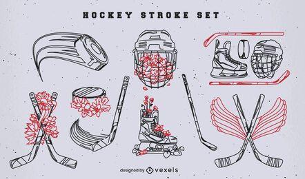Paquete de trazos de equipos deportivos de hockey sobre hielo
