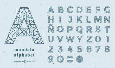 Alphabet mandala floral stroke set