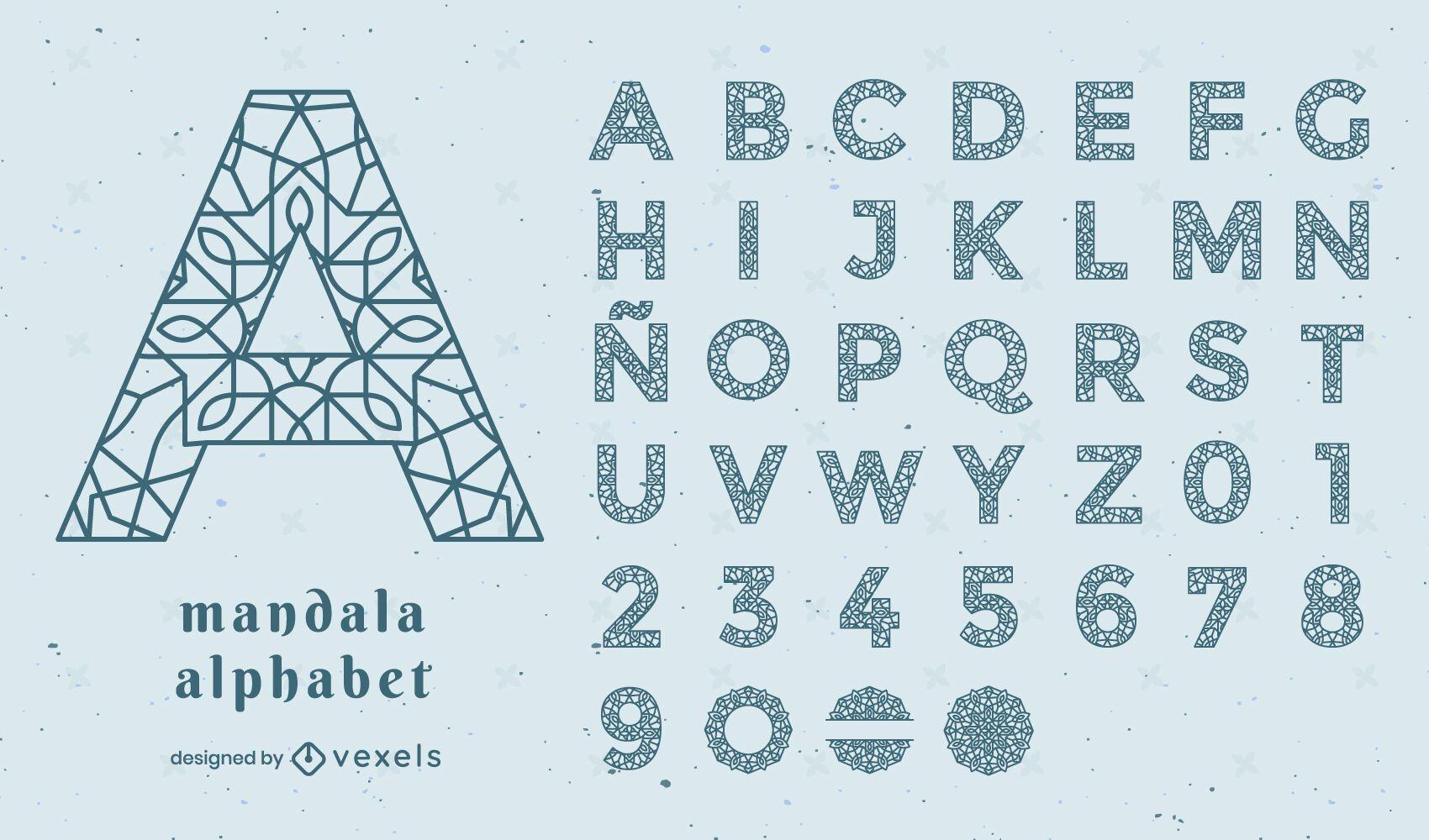 Conjunto de traços florais de mandala do alfabeto