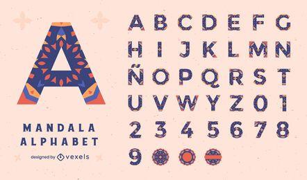 Alphabet-Mandala-Blumen-buntes Set