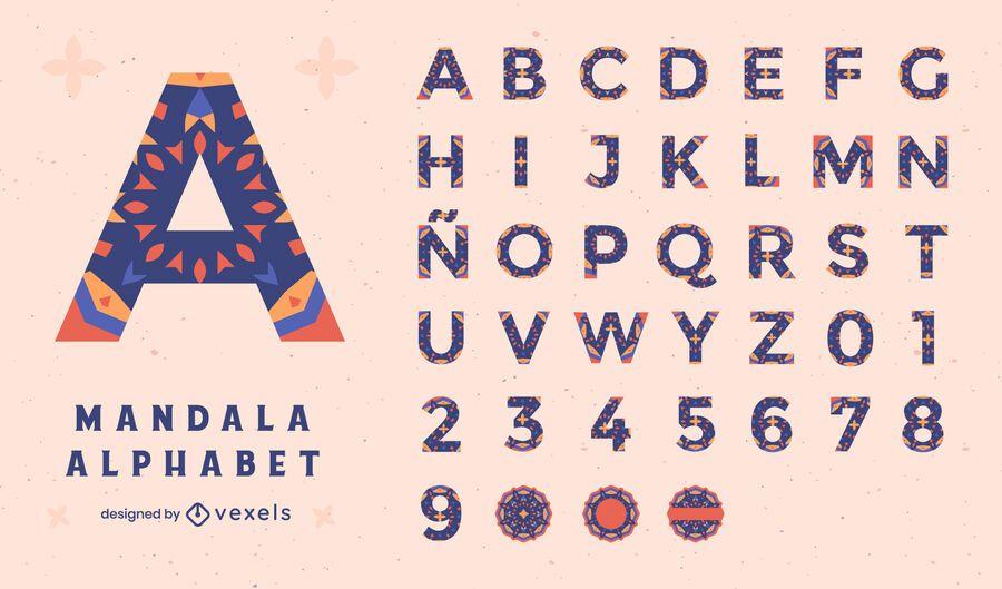 Alphabet mandala floral colorful set