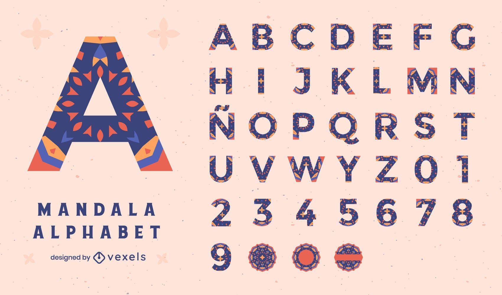 Conjunto floral colorido da mandala do alfabeto
