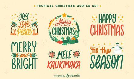 Conjunto de crachá de Natal tropical