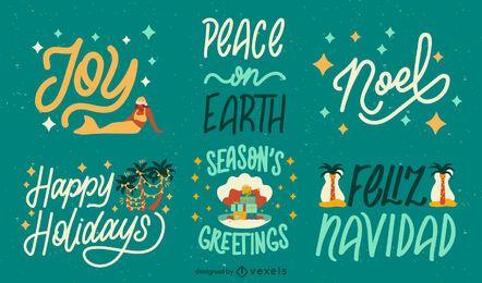 Conjunto de insignias de vacaciones de temporada navideña tropical