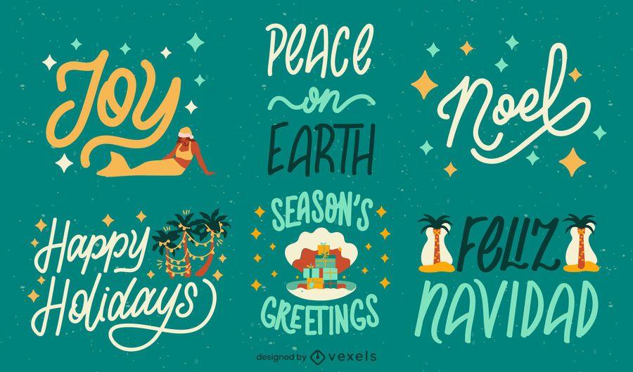 Tropical christmas season holiday badge set