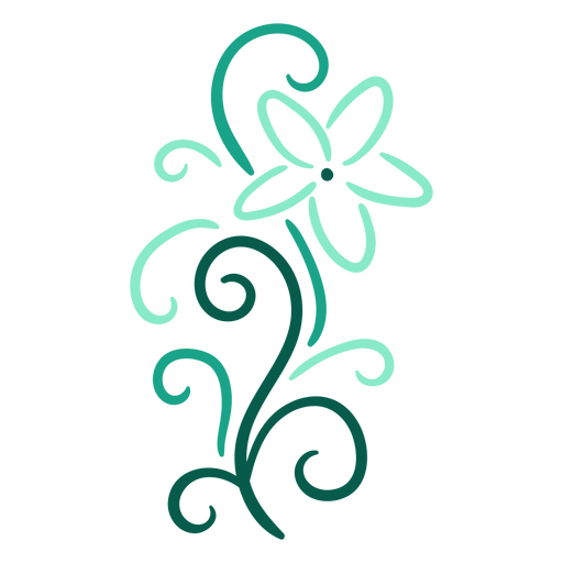 Floral swirls light blue stroke