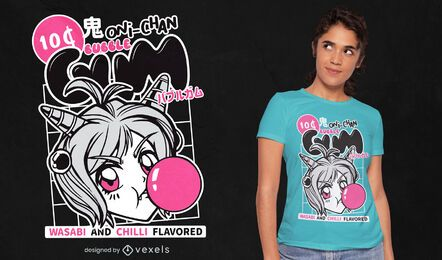 Design de t-shirt de chiclete de menina anime