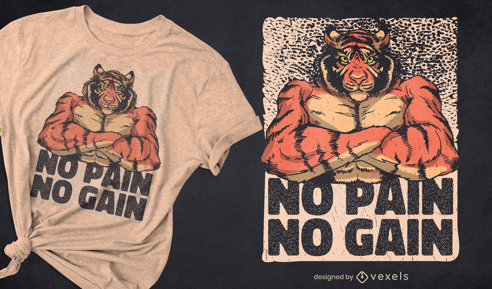 Diseño de camiseta animal de músculos de tigre.