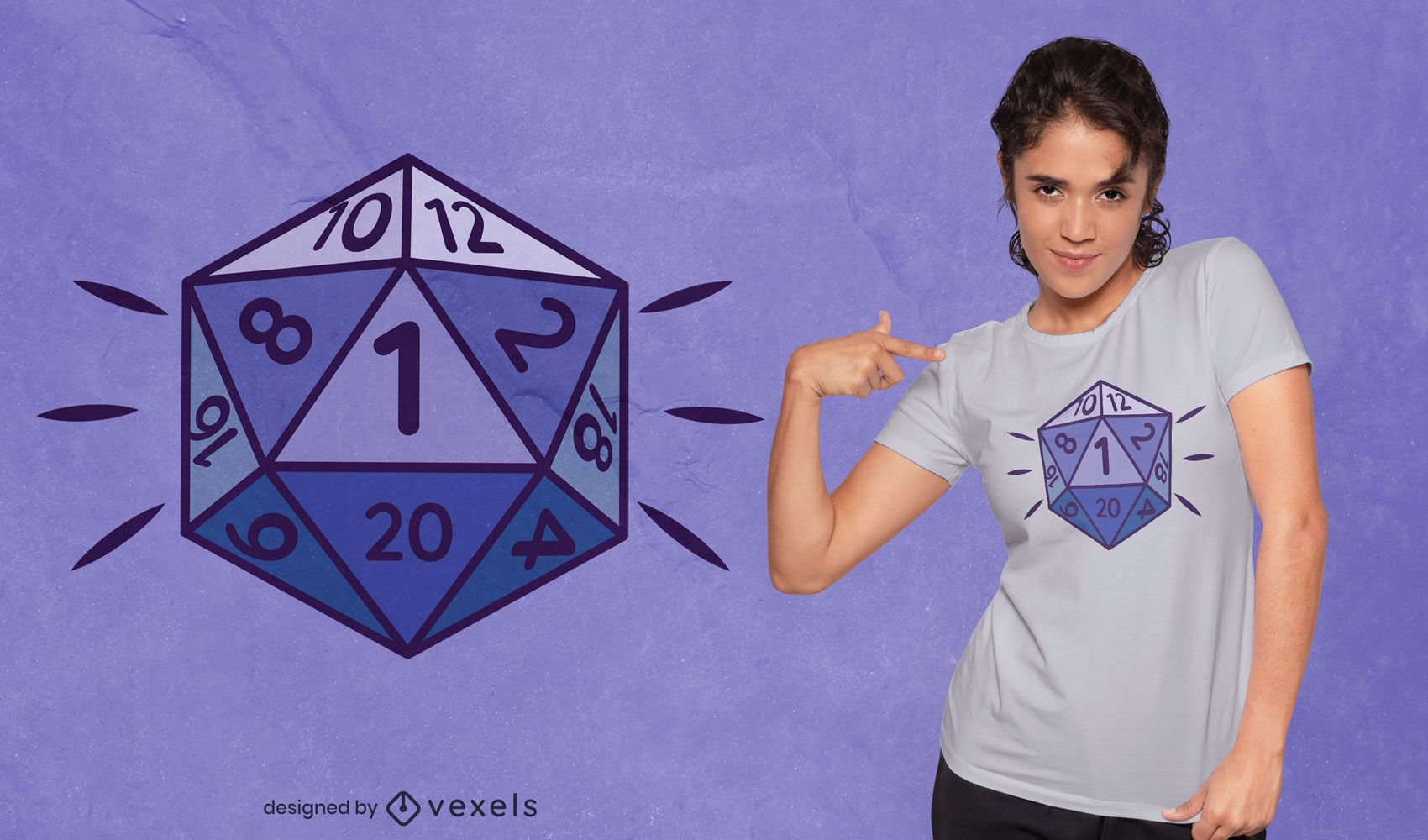 Role playing dice d20 t-shirt design