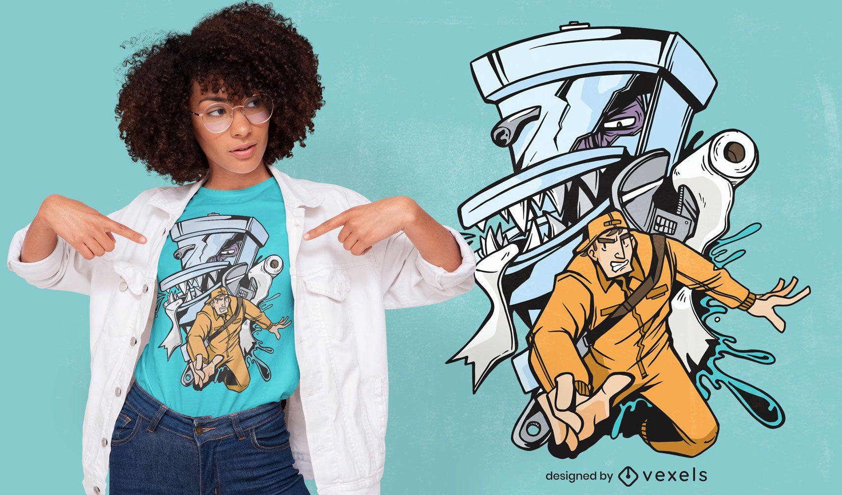 Diseño de camiseta de monstruo de fontanero y baño.