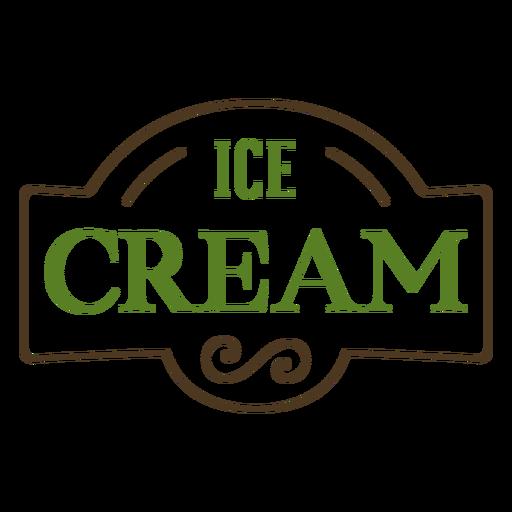 Green ice cream label stroke