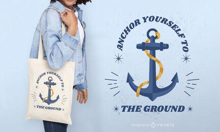 Anchor ship nautical tote bag design