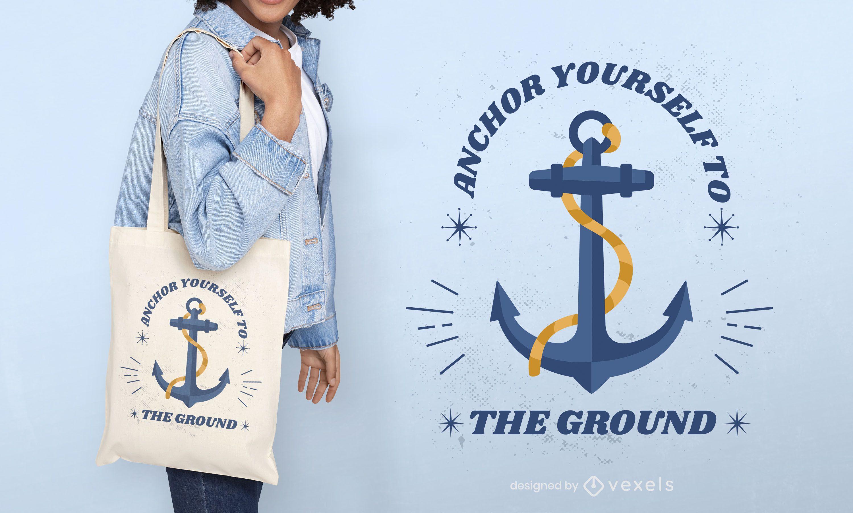 Design de sacola náutica de navio âncora