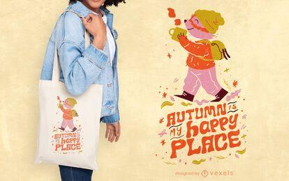 Temporada de otoño feliz lugar cita bolsa de tela