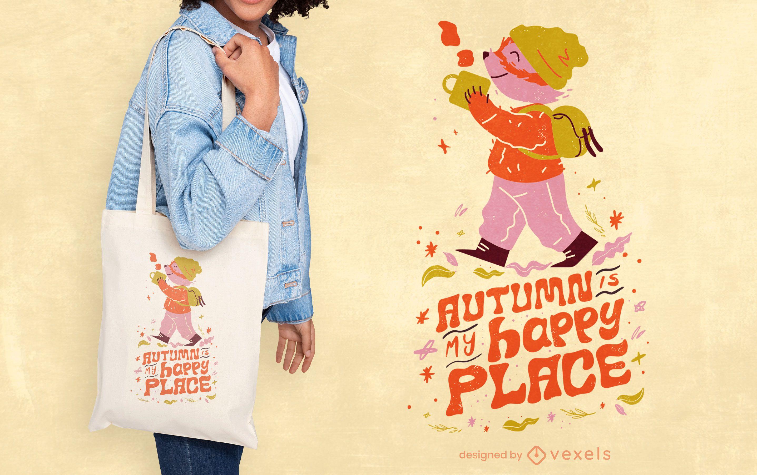 Autumn season happy place quote tote bag