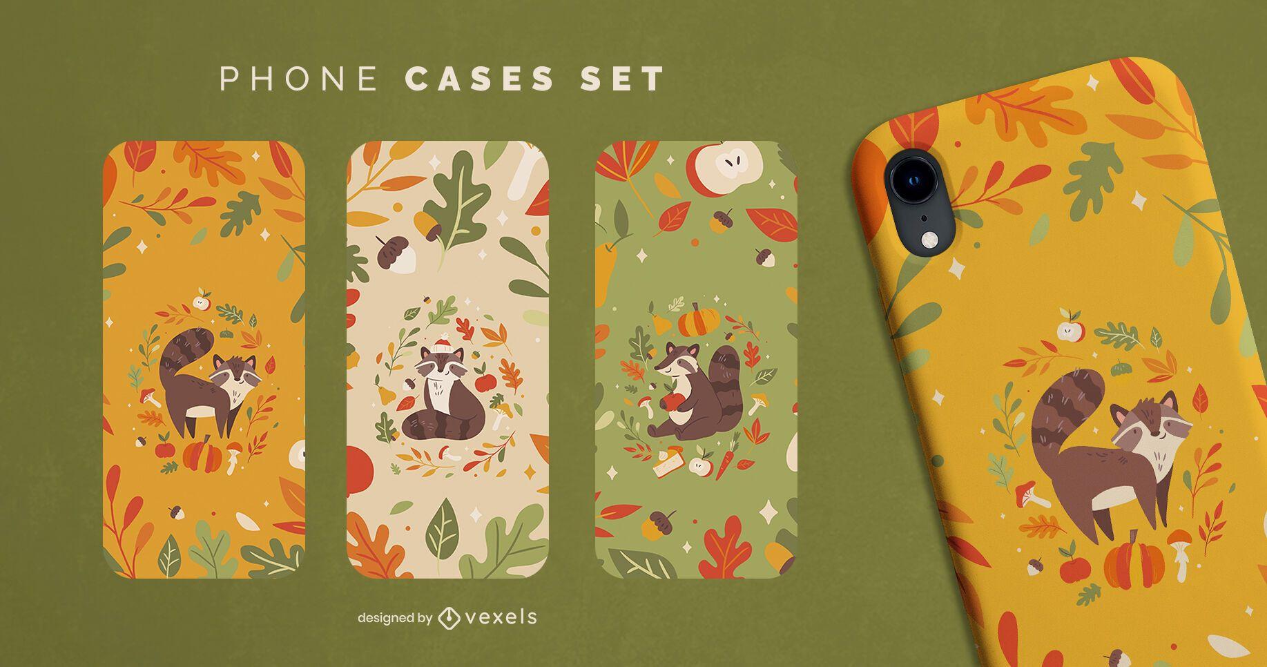 Conjunto de capa de telefone guaxinim fofa temporada de outono