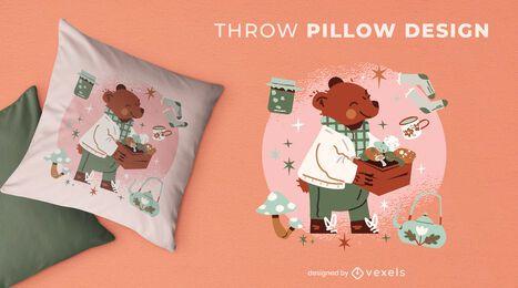 Autumn season happy bear throw pillow design