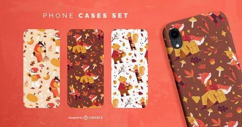 Conjunto de caja de teléfono de personajes de animales de temporada de otoño