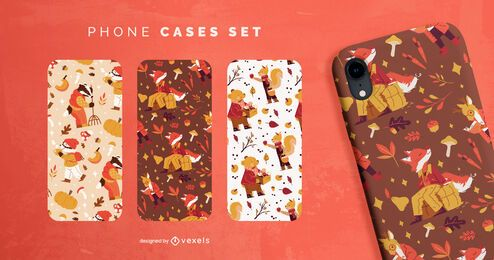Conjunto de capa de celular para personagens de animais da temporada de outono