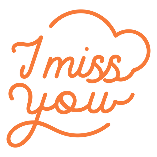 I miss you lettering quote stroke element