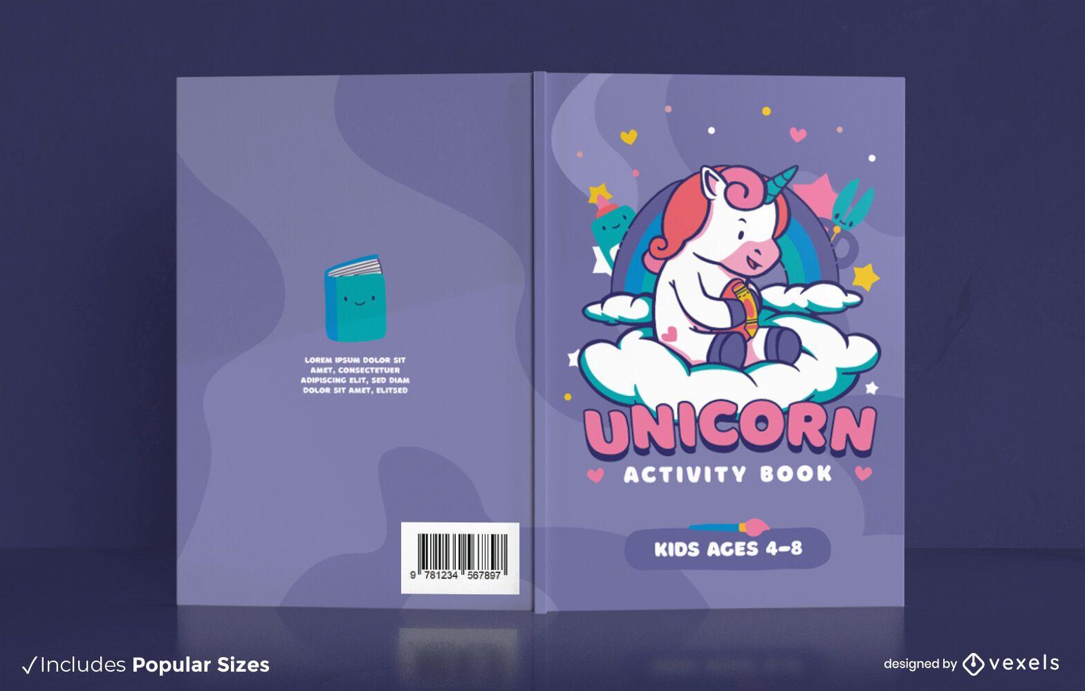 Livro de atividades do unicórnio para design de capa infantil