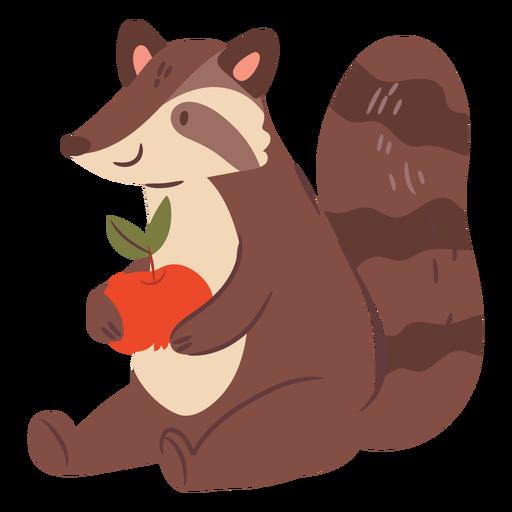 Lindo mapache con una manzana