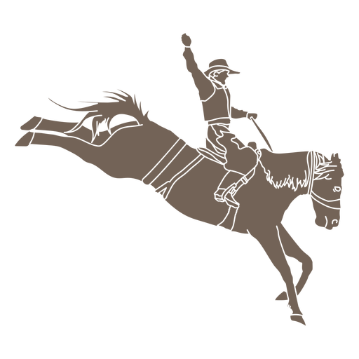 Cowboy and horse jumping cut out