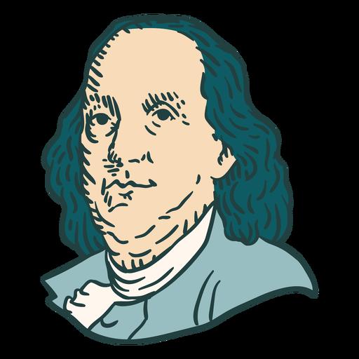 Benjamin Franklin American figures color stroke