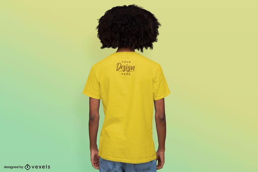 Man backwards gradient background t-shirt mockup