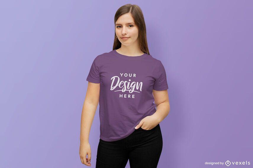 Long haired girl t-shirt mockup