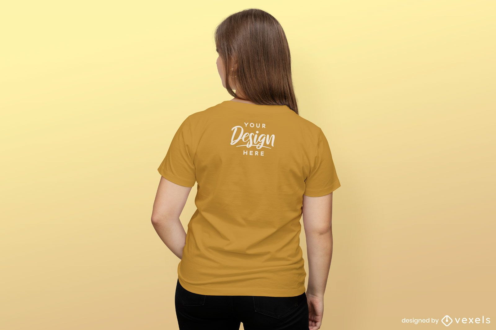 Mädchen rückwärts einfarbiges T-Shirt-Modell