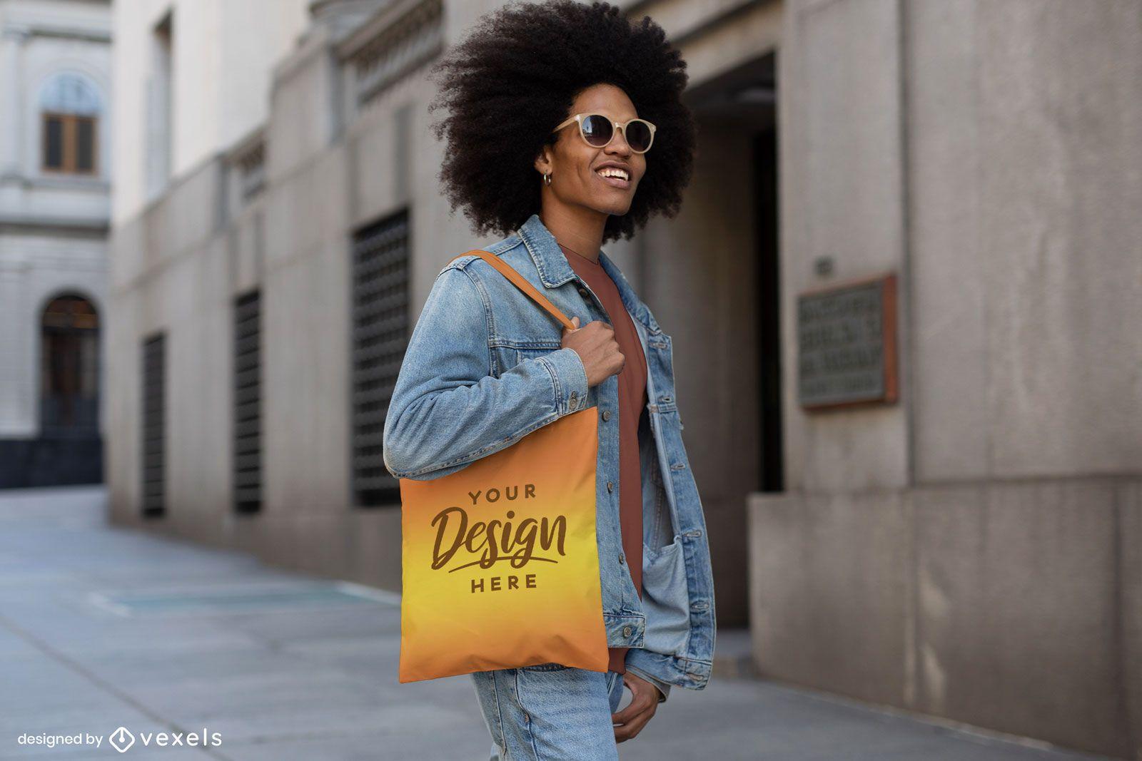 Man in jean jacket street tote bag mockup