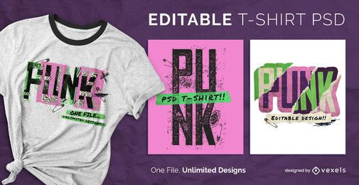 Punk retro style scalable t-shirt psd