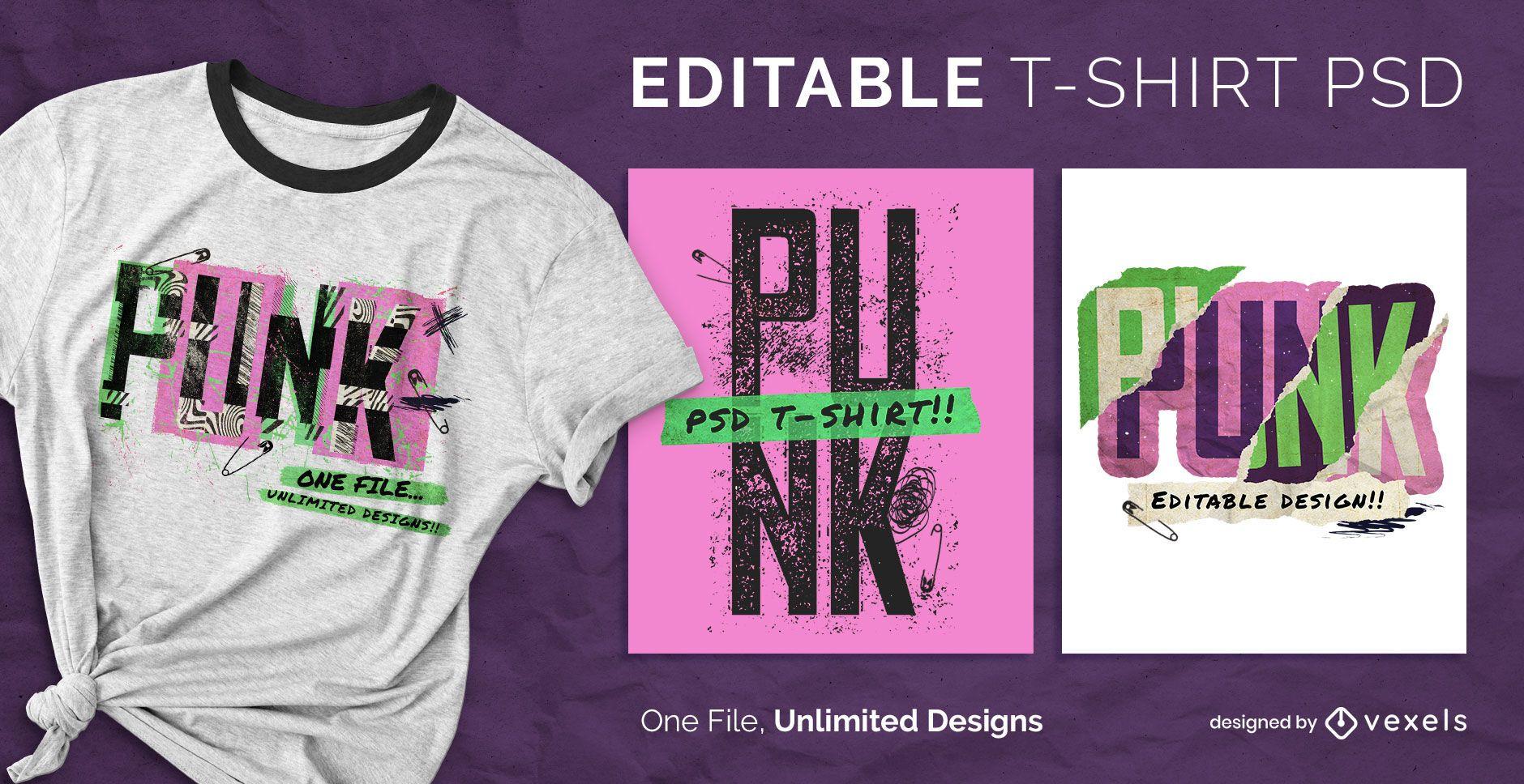 Skalierbares T-Shirt im Punk-Retro-Stil psd