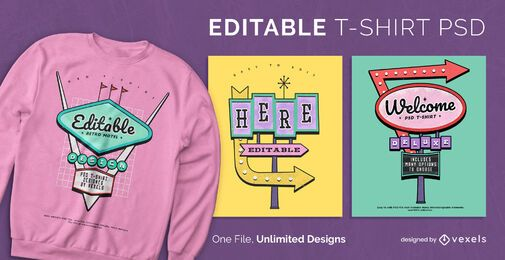 80's retro signs scalable t-shirt psd
